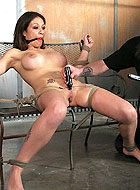 Busty slave Karrlie Dawn gagged with ball and gets painful tortures