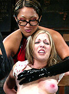 Haley looks so helpless as she is tied up and lesbian dominated