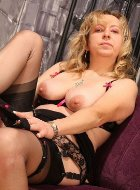Hottest mature in nylons stripping and posing