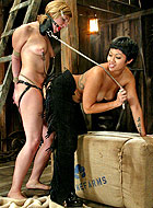 Flogged blonde girl forced to strap-on fuck at lesbian bondage