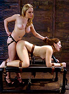 Slave slut gets first girl-on-girl BDSM experience with strapon sex