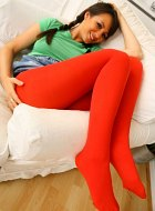 Rachael Boden posing in red tights and high heels