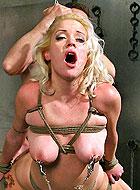 Bound slave Kissy Kapri gets harsh fuck at various BDSM position