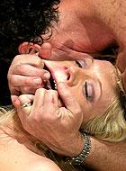 Blonde slave Heidi Mayne gets painful bondage with rough fucking