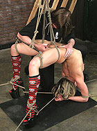 Flexible Katarina Kat gets whipping and bondage in extreme positions