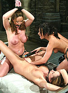 Girls Christina and Sasha both feel the wrath of lesbian domination