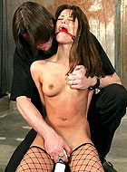 Stocking slave beauty Rebecca Blue enjoying with rough bondage