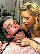 Blonde cutie Lexi Belle turns captive man to harsh female domination