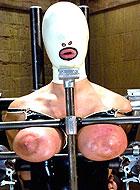 Busty slave girl gets harsh tits bondage at severe BDSM training